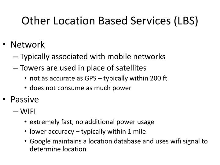 Other location based services lbs