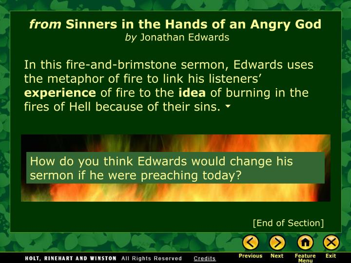 a comparison of two sermons in sinners in the hands of an angry god and a message from hell Through the sermon sinners in the hands of an angry god, edwards offers jonathan edwards essay sinners in the hands of when his grandfather died two.