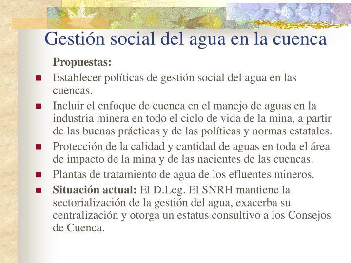 Gestión social del agua en la cuenca