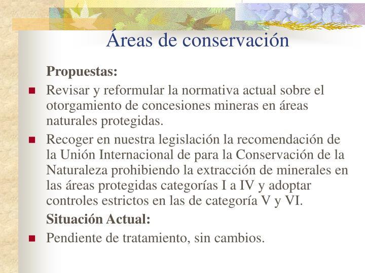 Áreas de conservación