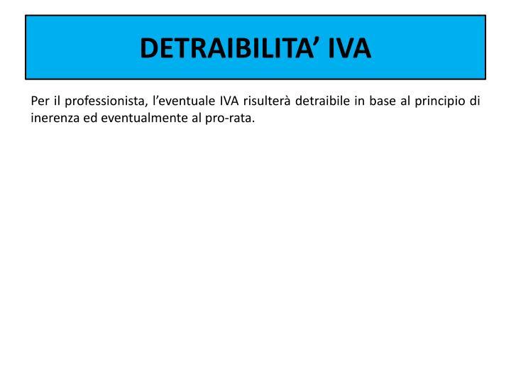 DETRAIBILITA' IVA