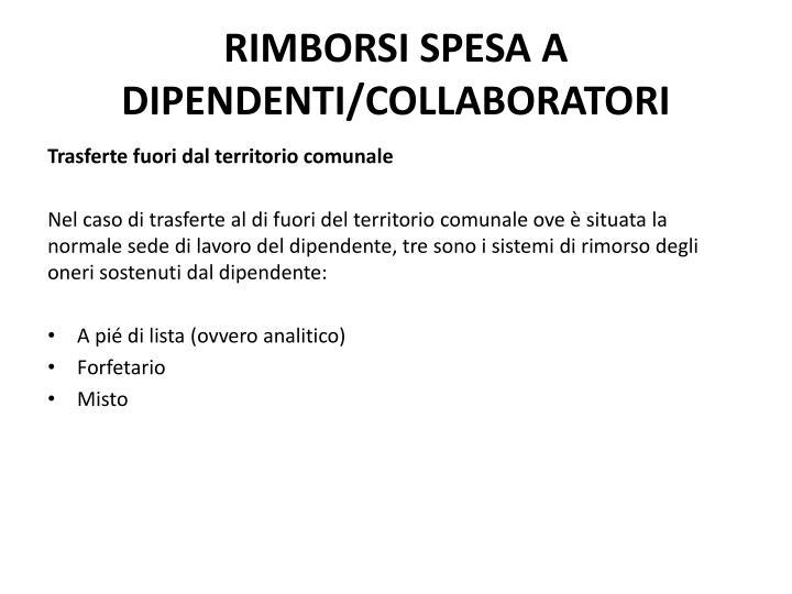 RIMBORSI SPESA A DIPENDENTI/COLLABORATORI