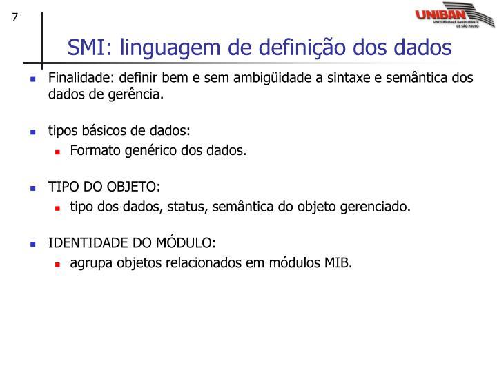 SMI: linguagem de definição dos dados