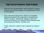 high school students data analysis