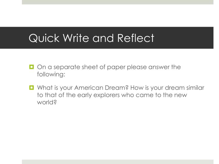 Quick Write and Reflect