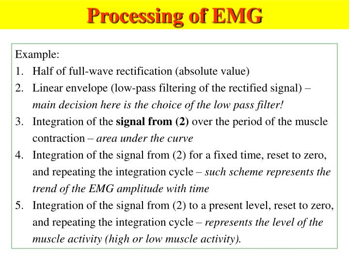 Processing of EMG