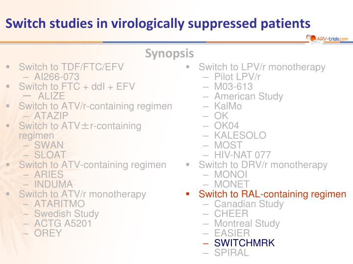 switch studies in virologically suppressed patients n.
