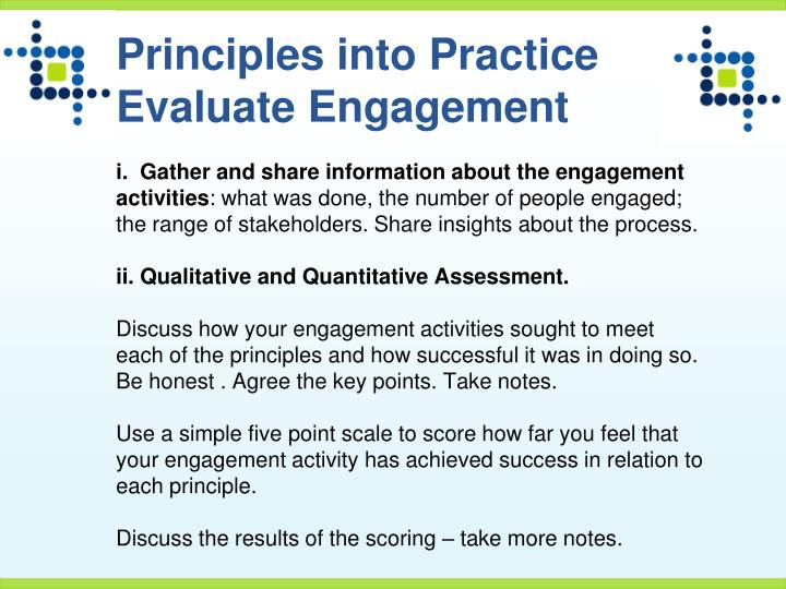 Principles into Practice