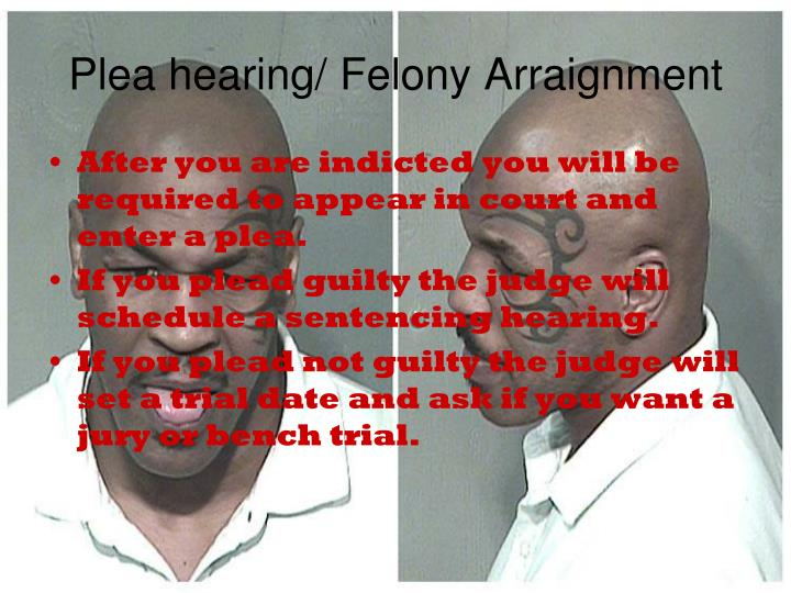 Plea hearing/ Felony Arraignment
