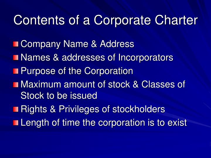 Contents of a Corporate Charter