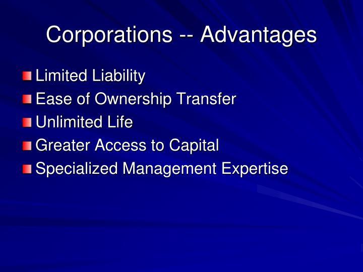 Corporations -- Advantages