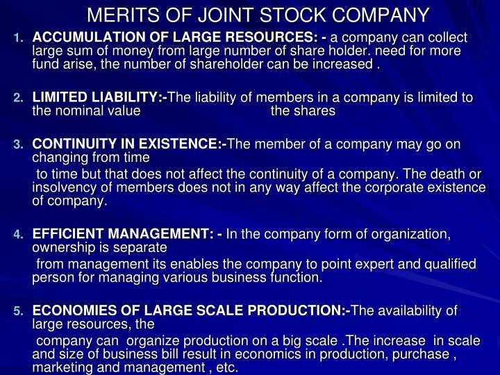 MERITS OF JOINT STOCK COMPANY
