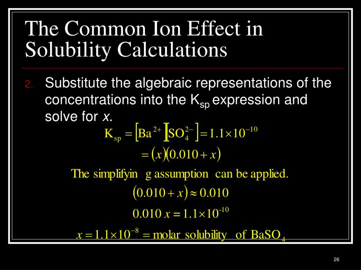 The Common Ion Effect in Solubility Calculations