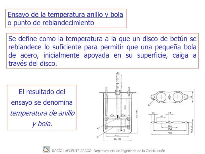 Ensayo de la temperatura anillo y bola o punto de reblandecimiento