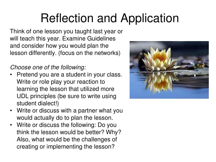 Reflection and Application