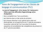 voies de l engagement et les classes de langage et communication tlc
