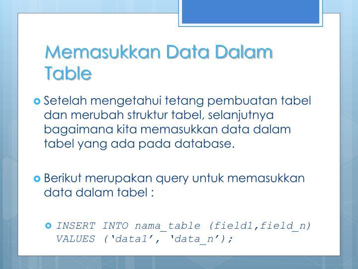 Memasukkan Data Dalam Table