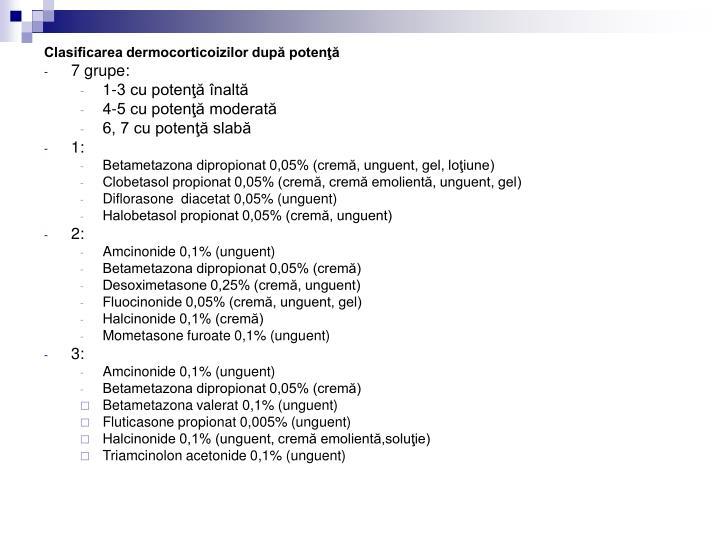Clasificarea dermocorticoizilor după potenţă