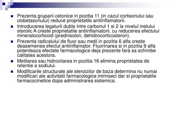 Prezenta gruparii cetonice in pozitia 11