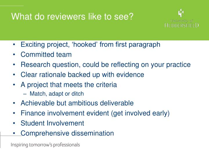 What do reviewers like to see?