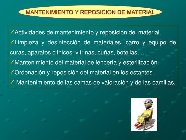 MANTENIMIENTO Y REPOSICION DE MATERIAL