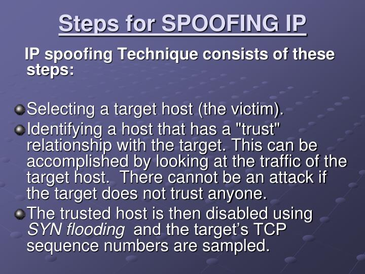 Steps for SPOOFING IP