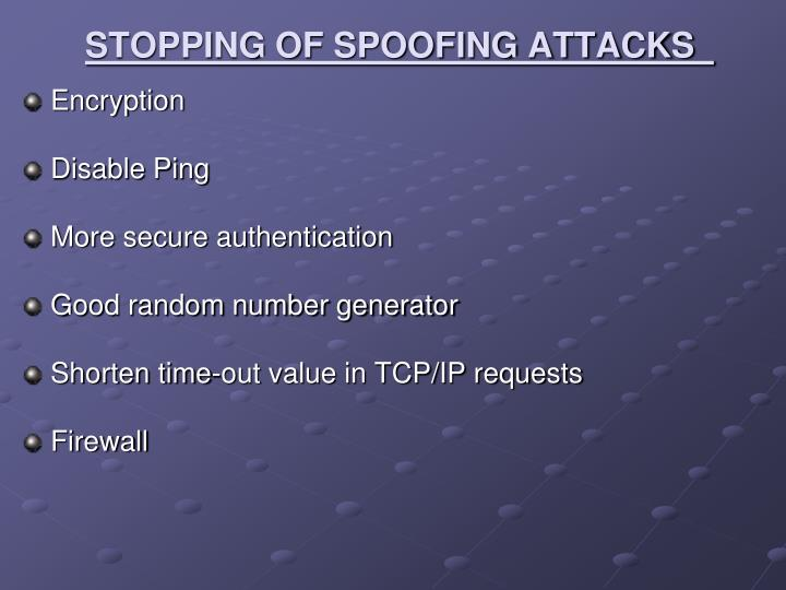 STOPPING OF SPOOFING ATTACKS
