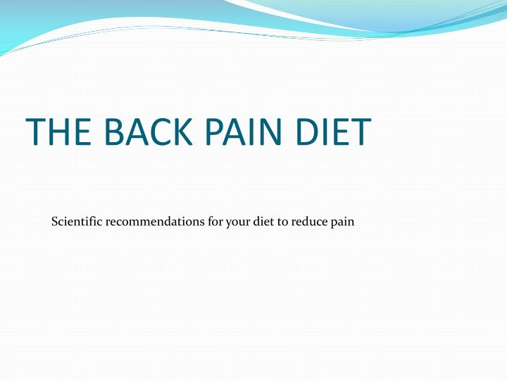 the back pain diet n.