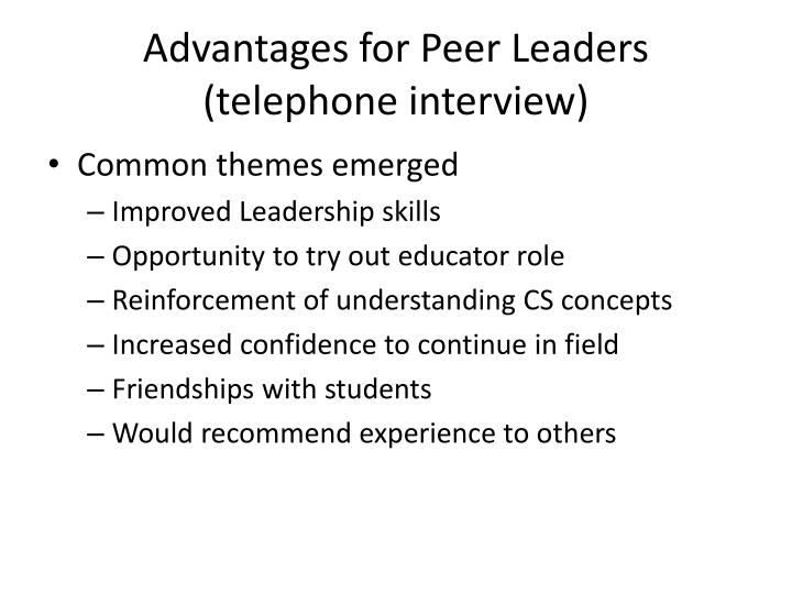 Advantages for Peer Leaders
