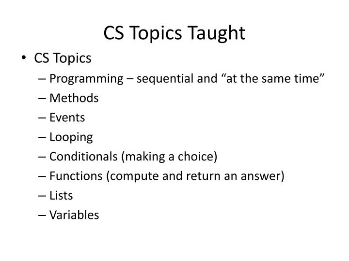 CS Topics Taught