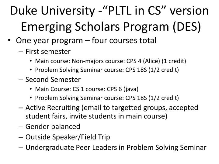 "Duke University -""PLTL in CS"" version"