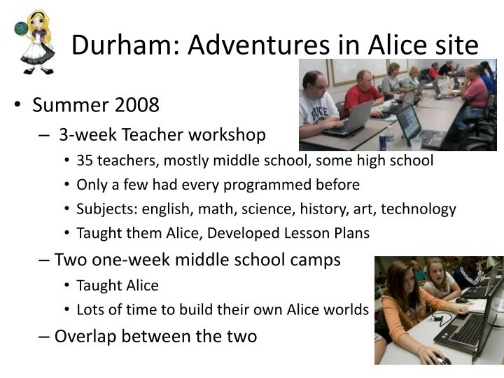 Durham: Adventures in Alice site