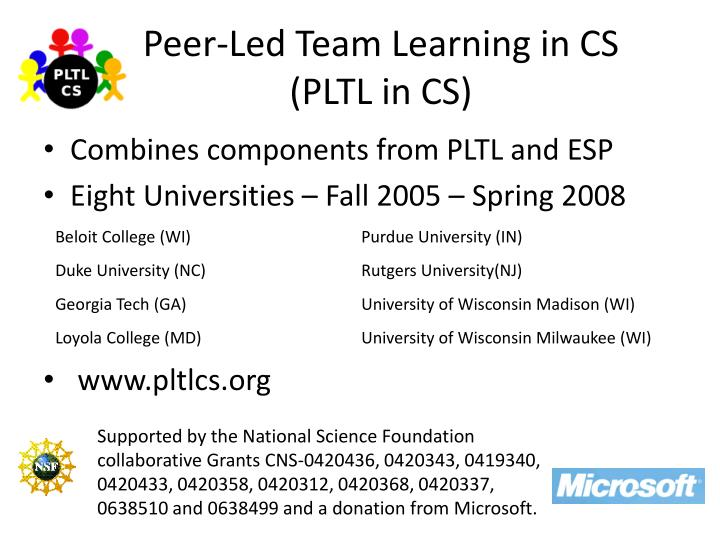 Peer-Led Team Learning in CS