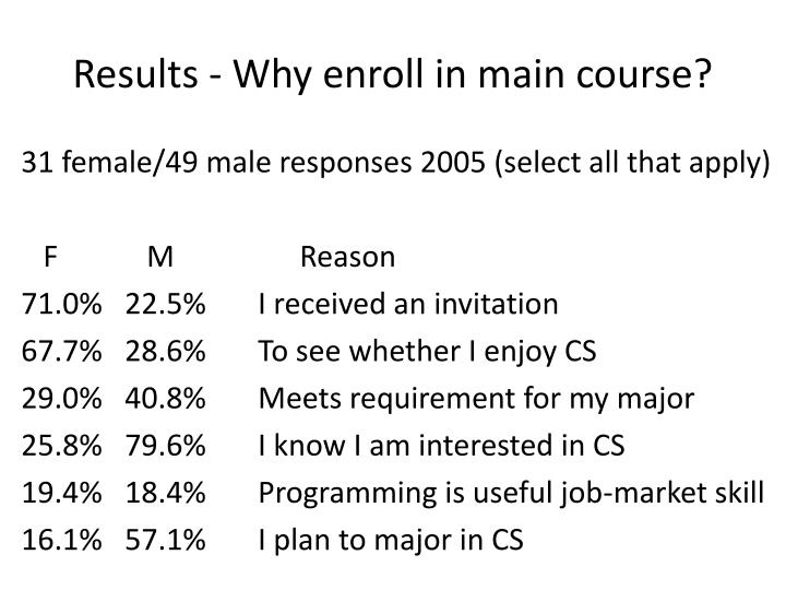 Results - Why enroll in main course?