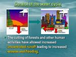 control of the water cycle