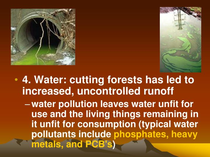 4. Water: cutting forests has led to increased, uncontrolled runoff