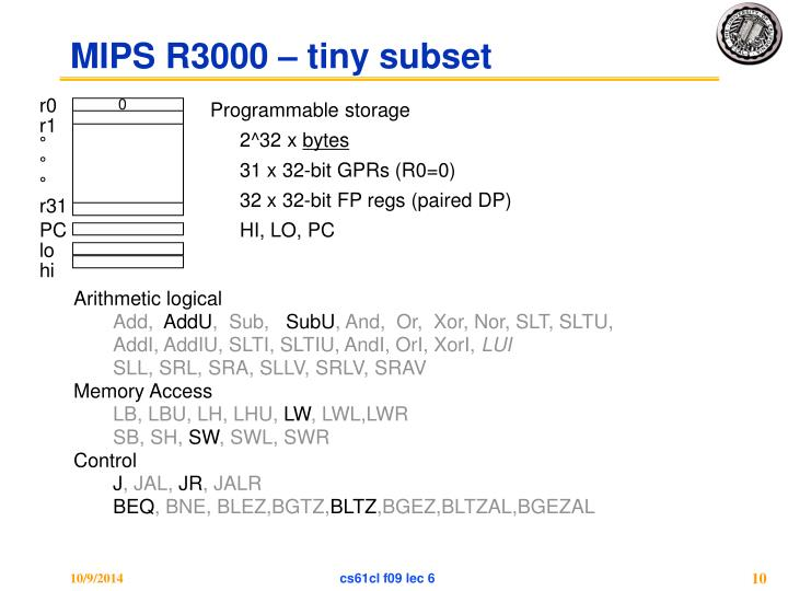 MIPS R3000 – tiny subset
