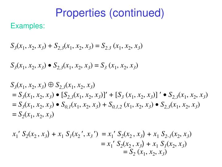 Properties (continued)