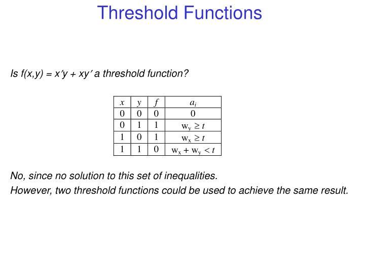 Is f(x,y) = xy + xy a threshold function?