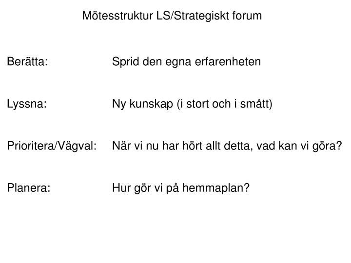 Mötesstruktur LS/Strategiskt forum