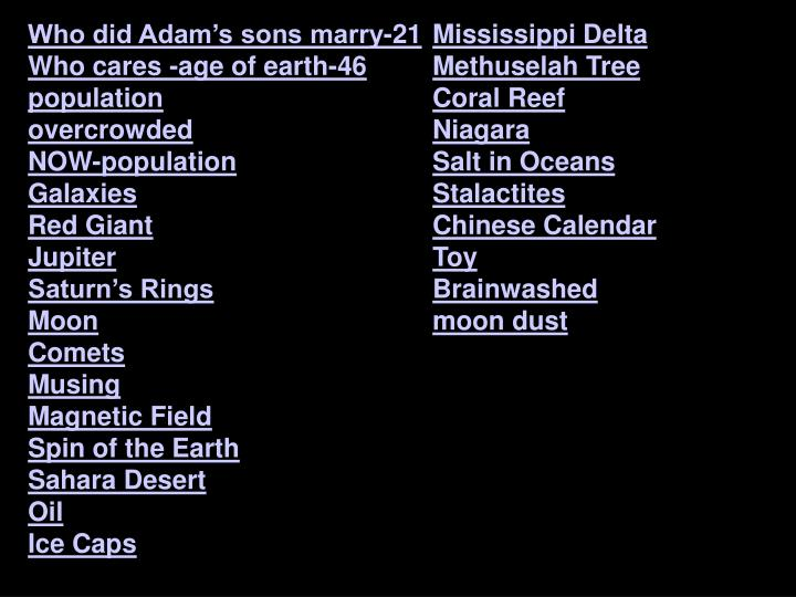 Who did Adam's sons marry-21