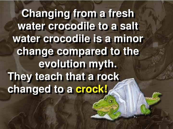 Changing from a fresh water crocodile to a salt water crocodile is a minor change compared to the
