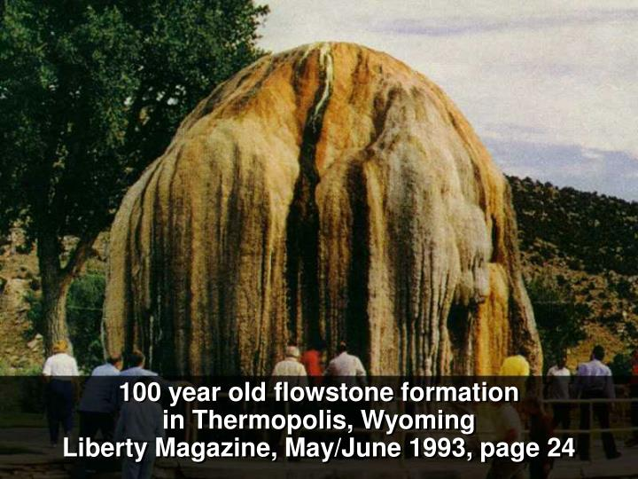 100 year old flowstone formation
