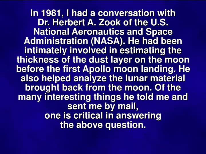 In 1981, I had a conversation with