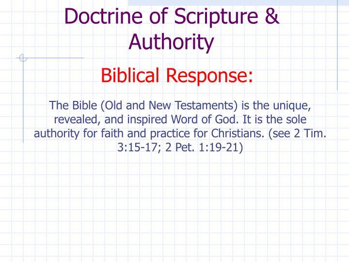 Doctrine of Scripture & Authority