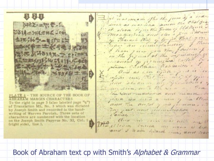 Book of Abraham text cp with Smith's