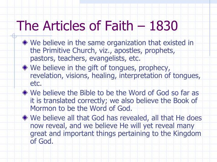 The Articles of Faith – 1830