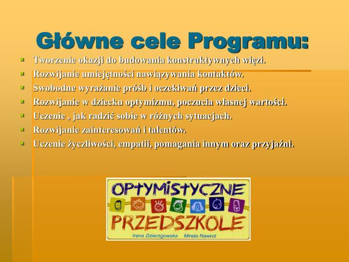 G wne cele programu