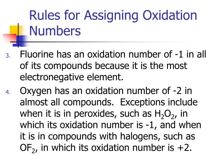 assign oxidation numbers As an example, summing bond orders in the ammonium cation yields −4 at the nitrogen of formal charge +1, with the two numbers adding to the oxidation state of −3.