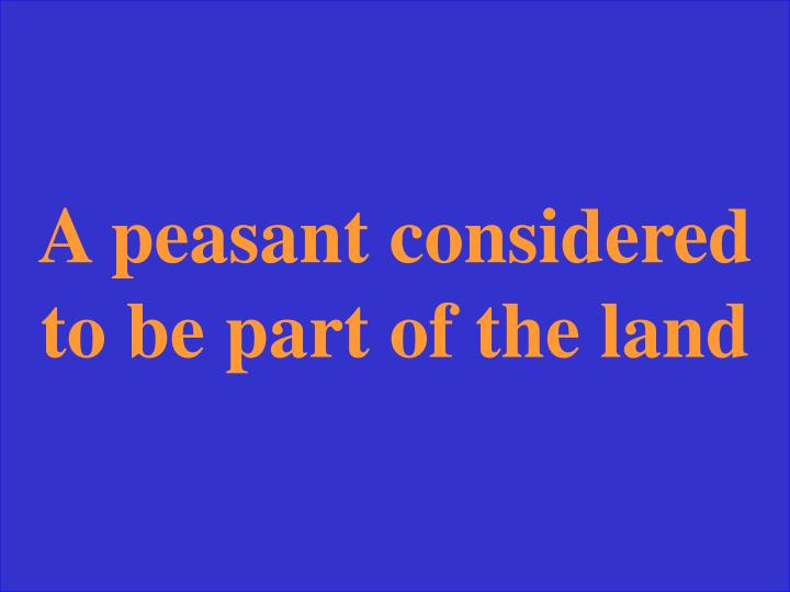 A peasant considered to be part of the land